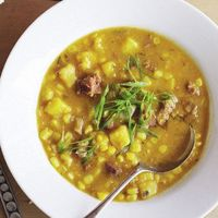 Sweetcorn, kumara & chorizo chowder recipe from Cuisine Magazine
