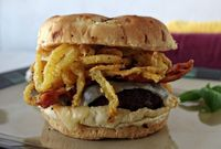 Bacon Burger with Muenster, Onion Strings and Buffalo Mayo