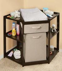 a corner changing table