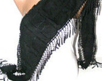 women scarves, fashion accessories, new scarf trends, black scarf, Cowl Scarf with Lace Edge, for her