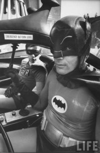 Burt Ward and Adam West photographed by Yale Joel on the set of the Batman movie, 1966.