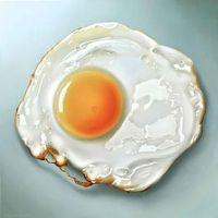 Fried egg oil painting