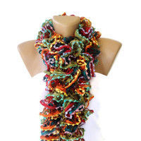 Hand Knit Ruffled Scarf,multicolor scarf,2013 NEW TREND