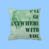 gift, pillow, world, map, emerald, green,love, army, travel,