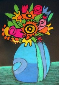 Color Stick Flowers - My students love using Crayola color sticks. Can't wait to try this. :)