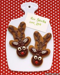 gingerbread reindeer cookies. turn a gingerbread man upside down and decorate!