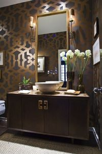 Gorgeous bathroom in taupe, brown, gray, and antique gold.