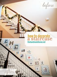 how to decorate a stairway - gallery wall