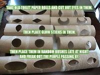 DIY.....Glow eyes in the dark made out of paper towels tube