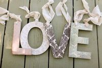 Chipboard letters covered in shabby chic scrapbook paper