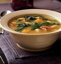 Squash, broccoli rabe, and white bean soup. Vegan.