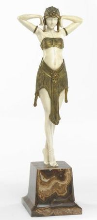 DEMETER CHIPARUS Scarabee, circa 1928. gilt-bronze and carved ivory and with a marble base