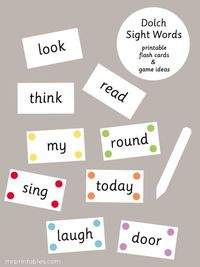 printable Dolch sight words flash cards