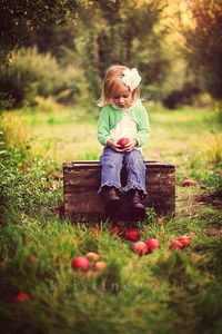 little girl and apple