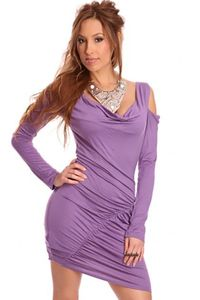 Lavender Draped Front Scoop Neck Bare Shoulders Ruched Stylish Dress