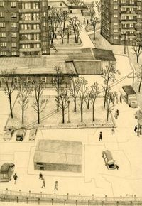 "By Carson Ellis - ""Moscow"" , 2008, graphite, 4.75�€ x 6.75�€ [for fine art exhibition at PDX Gallery, Portland, OR]"