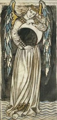 An Angel holding a Waning Moon, William Morris
