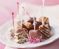 Candy-Box Caramels - dress up packaged caramel squares by dipping them in sprinkles, crushed nuts, and bits of candy. Drizzle with dark or white chocolate to add even more color.