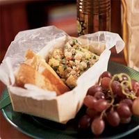 lunch recipe: farro salad w/ white beans + artichokes. service w/ grapes, crackers.