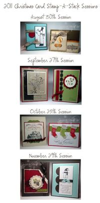Christmas Card Stamp a Stack. 4 sessions, 2 different cards per session-make 6 of each design. Total-48 cards