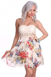 White Multi Strapless Floral Print Embroidery Waist Sexy Party Dress