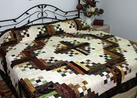 King Bed Quilt Rustic Batik Log Cabin 90 x 115 by QuiltLover, $425.00