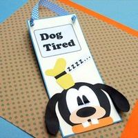 Goofy Dog Tired Door Sign