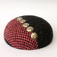 Coral and Charcoal Knitted Pillbox