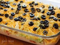 Skinny taco dip! Only 59 calories per serving.
