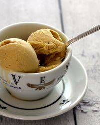 Coffee Ice Cream Makes about 1 quart (1 liter) Ingredients: 1-1/2 cups (375 ml) whole milk 3/4 cup (150 g) sugar 1-1/2 cups (125 g) whole coffee beans (I used Starbucks Blonde Veranda Blend) pinch of salt 1-1/2 cups...