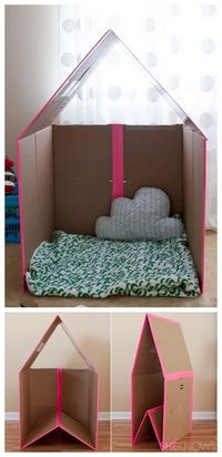 play house from old box & you can fold it up under the bed when not in use!