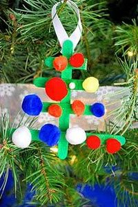 Lollipop sticks + pompoms = Christmas tree, from