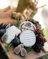 Cheese, grapes, figs.