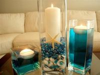 Flowers, Reception, White, Centerpiece, Ceremony, Wedding, Blue, Inspiration, Board, Beach, Candles, Aqua, Turquoise, Theme, Shells, Floating, Savannah event decor