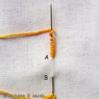 bullion know also known as caterpillar stitch, coil stitch, knot stitch, post stitch, worm stitch, porto rico rose, grub knot