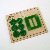 Vintage Green Buttons and Buckle / Button Card