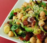 Warm chickpea & brussels salad