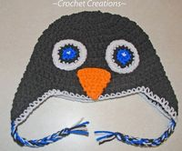 Crochet Creative Creations- Free Patterns and Instructions: Crochet Penguin Ear Flap child hat