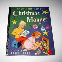 Vintage 1950s Children's Little Golden Cut Out Christmas Manger Book Uncut