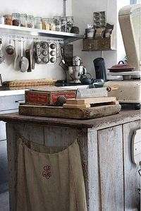 wooden counter with old scale
