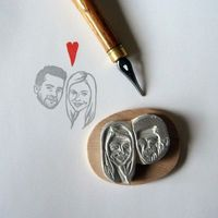 Custom / couple portrait / handcarved rubber stamp by lilimandrill, $70.00