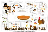Thanksgiving Printable Pack from Homeschool Creations