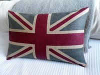 hand printed New rustic union jack flag cover. $76.00, via Etsy.