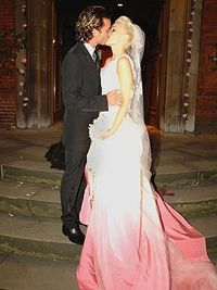 Gwen Stefani's wedding dress with rose ombre bottom!