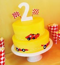race car birthday party cake